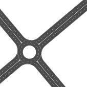 Roundabout road junction. Empty asphalt crossroad with marking