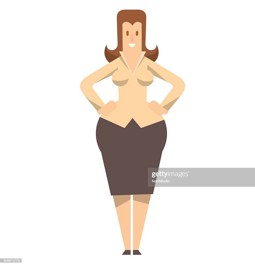 Rounded business woman standing and smiling