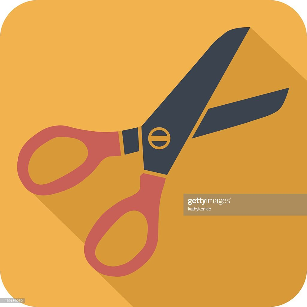rounded corner square flat style icon of scissors