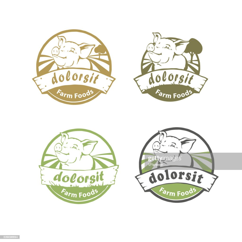 Rounded Farm food logo with happy pig
