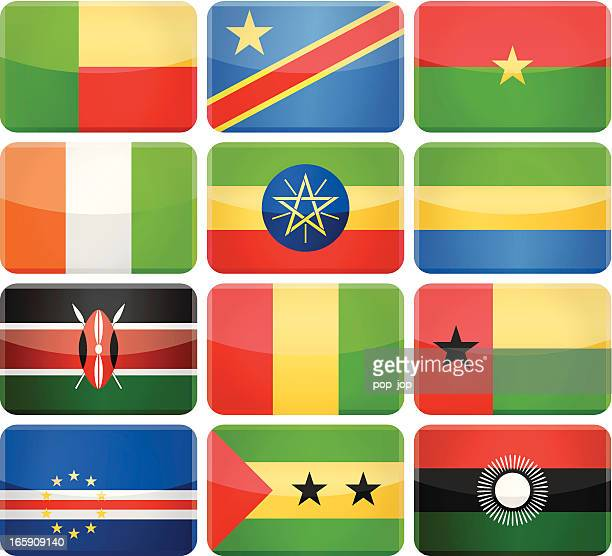 Rounded rectangle flag icons - Africa