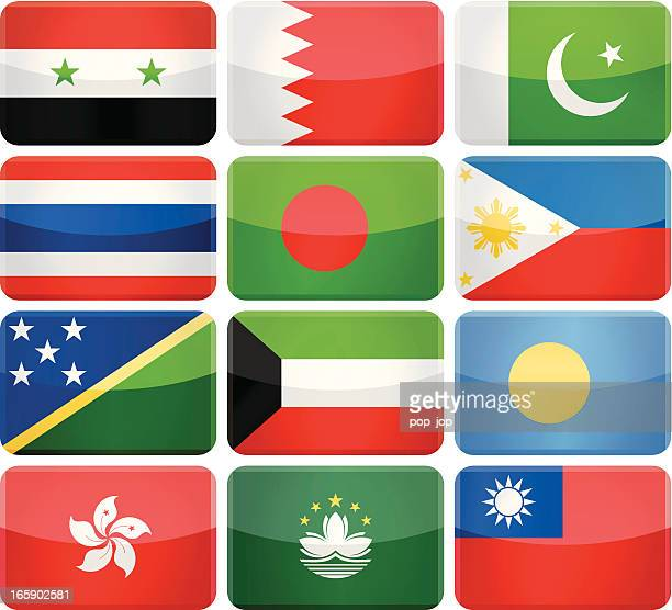 Rounded rectangle flag icons - Asia and Oceania