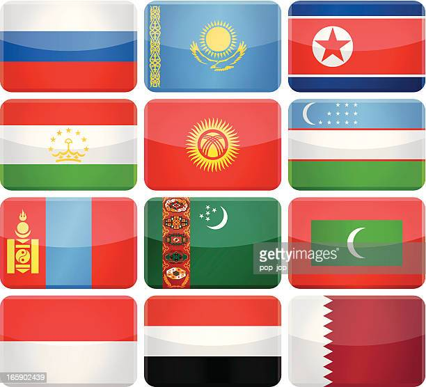 Rounded rectangle flag icons - Asia