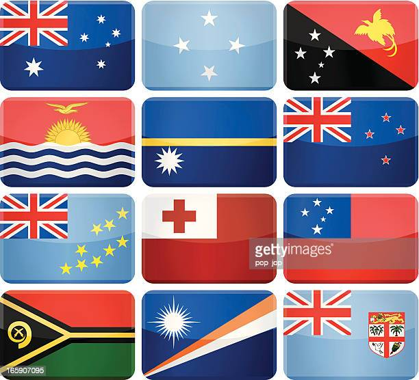 rounded rectangle flag icons - australia and oceania - tuvalu stock illustrations, clip art, cartoons, & icons