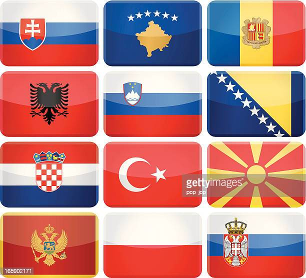 rounded rectangle flag icons - south and central europe - croatian flag stock illustrations, clip art, cartoons, & icons