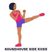 Roundhouse side kicks. Side kick. Sport exersice. Silhouettes of woman doing exercise. Workout, training.