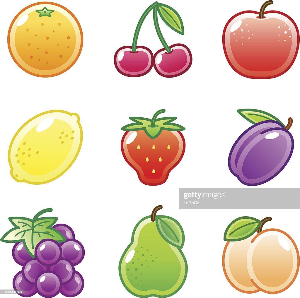 'Roundi' Icon Set -  Fruit