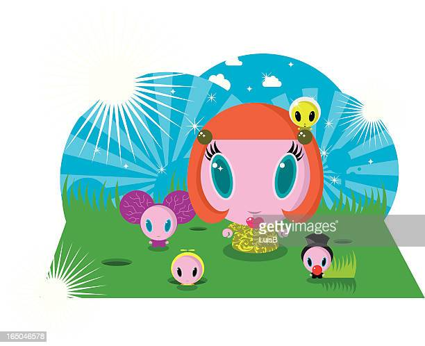 roundy friends - flare stack stock illustrations, clip art, cartoons, & icons
