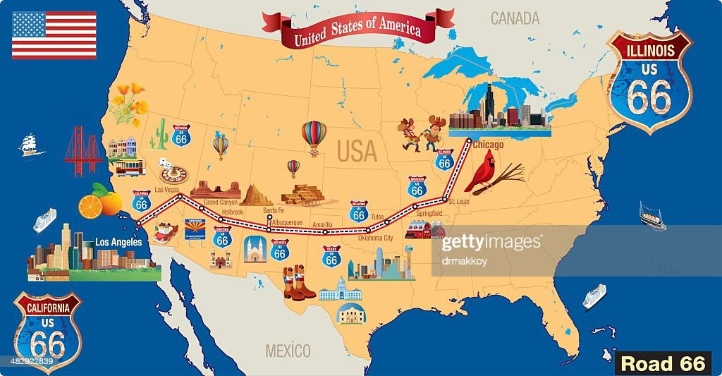 Map Of California Route 66.Route 66 Cartoon Map Stock Vector Getty Images