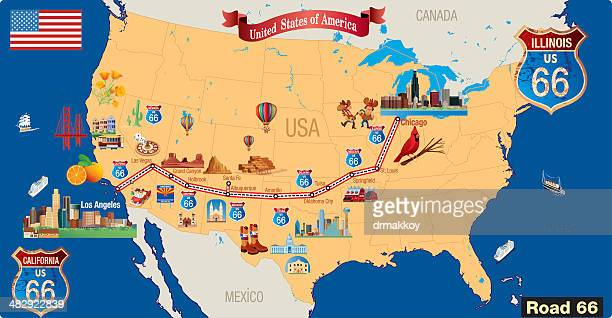 Route 66 Cartoon map