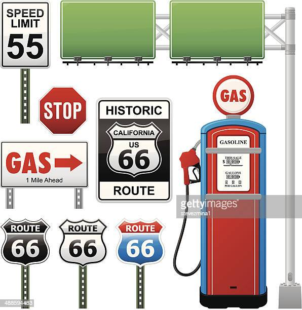 route 66 collection - fuel pump stock illustrations, clip art, cartoons, & icons