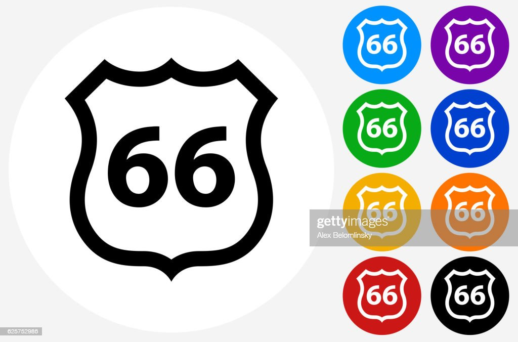 Route 66 Icon On Flat Color Circle Buttons Vector Art Getty Images