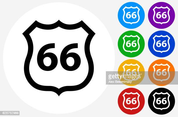 Route 66 Icon on Flat Color Circle Buttons