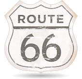 Route 66 Icon With Grunge And Rust Textures