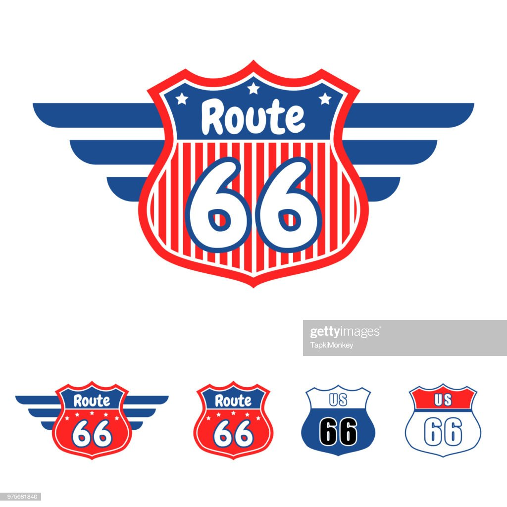 Route 66 red and blue vector icon