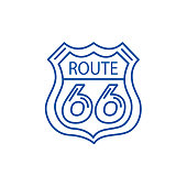 Route 66 sign line icon concept. Route 66 sign flat  vector symbol, sign, outline illustration.