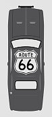 Route 66 Sign On Grey Car