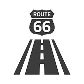Route 66 sign on white background.