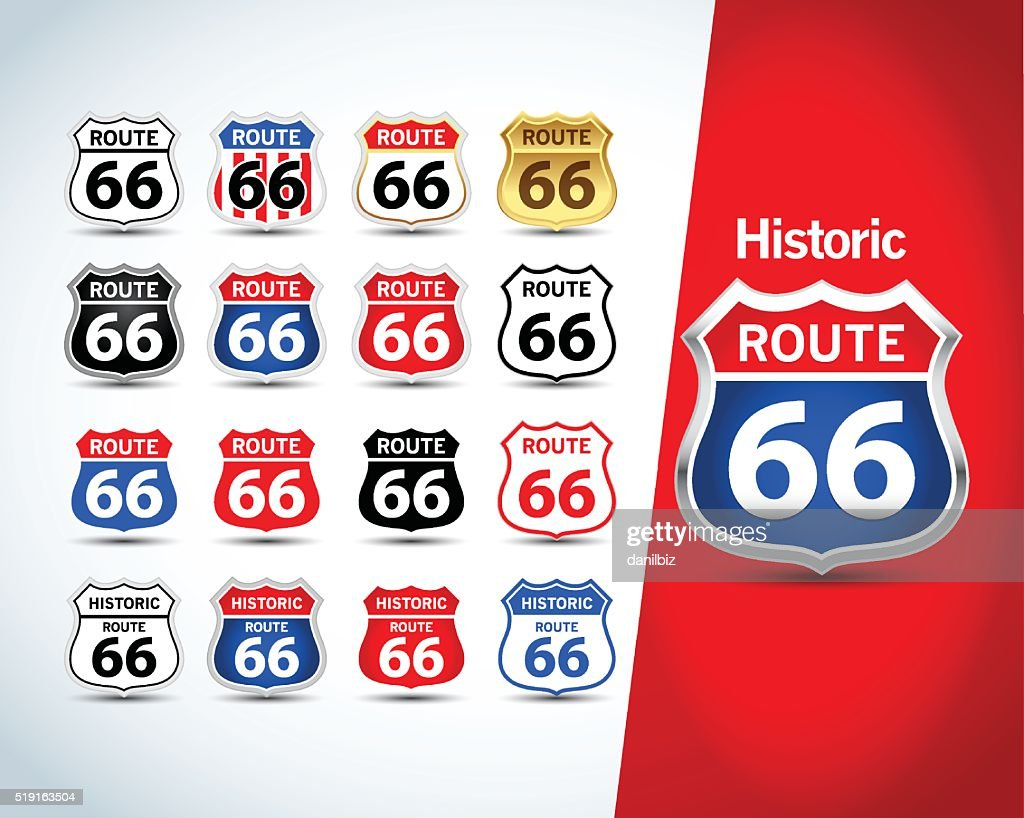 Route 66 sign set. Isolated route 66 emblems