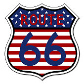 Route 66 Sign US Flag