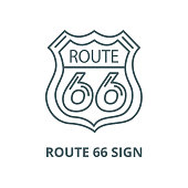 Route 66 sign vector line icon, linear concept, outline sign, symbol
