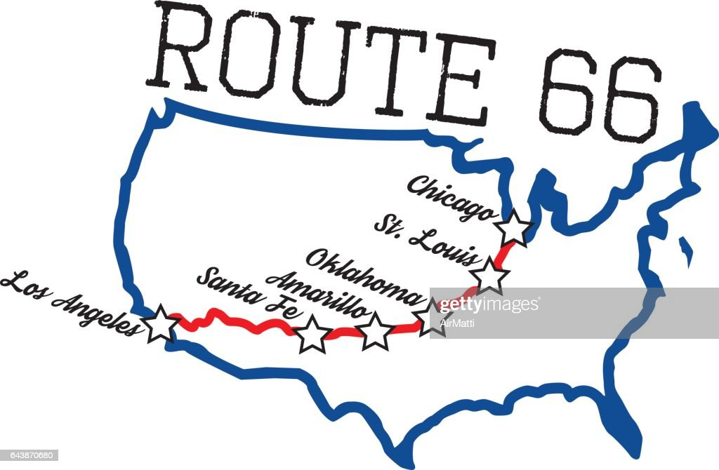 Route 66 vector Map