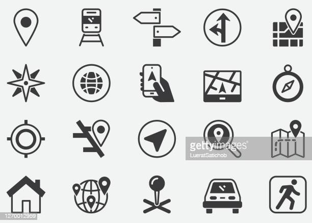 route and navigation icons set.road,map, way, path, gps, location. modern graphic design concepts.pixel perfect icons - artistic product stock illustrations