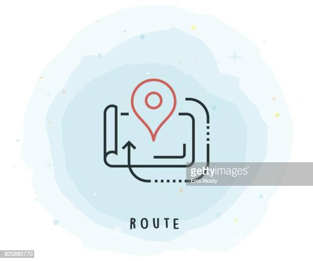 Route-Symbol mit Aquarell-Patch