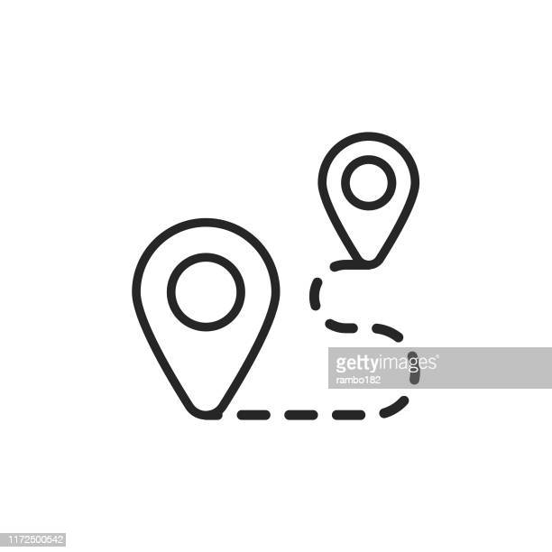 route line icon. editable stroke. pixel perfect. for mobile and web. - distant stock illustrations