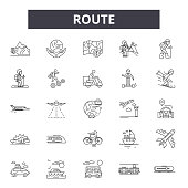 Route line icons, signs, vector set, linear concept, outline illustration