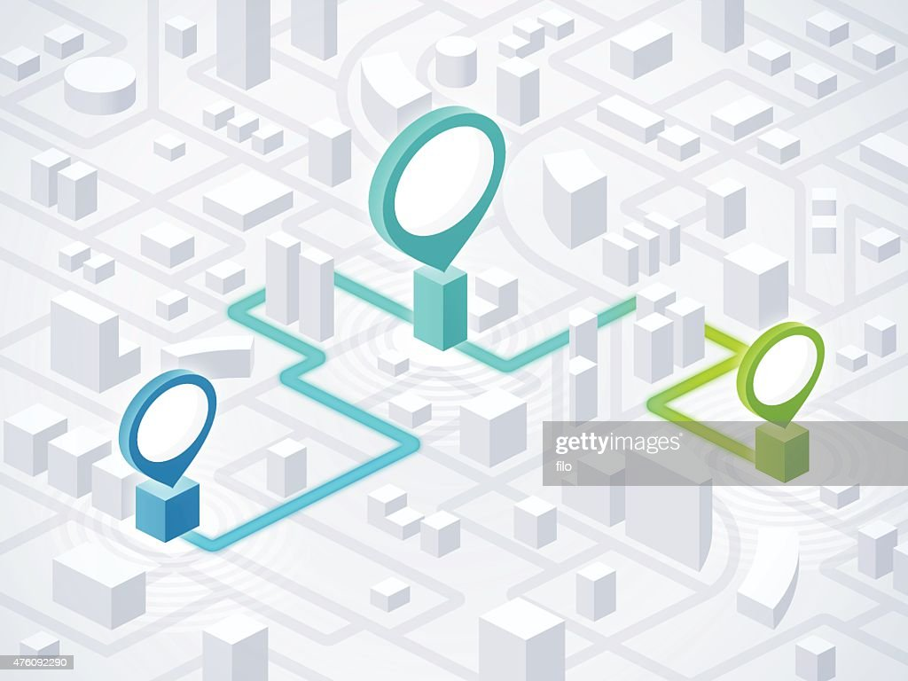 Route Planning Directions and Locations : Stock Illustration