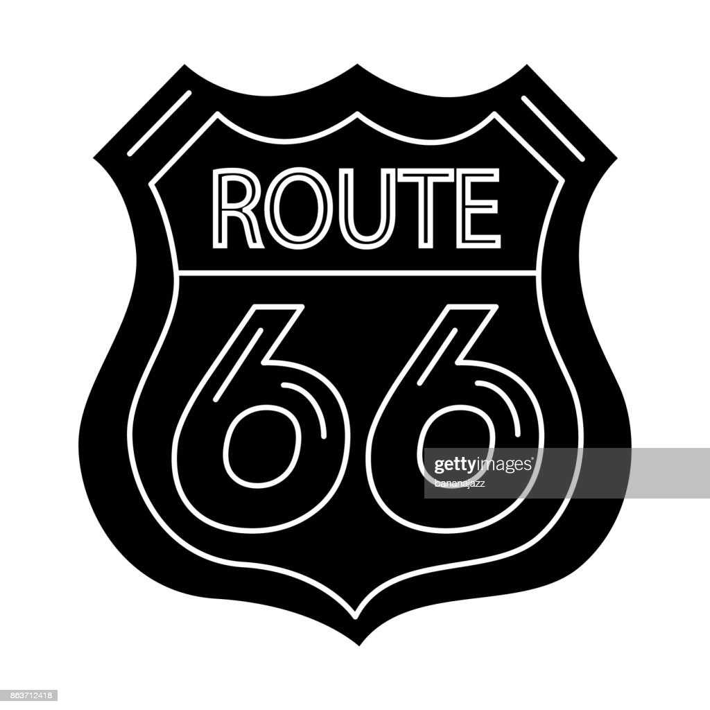 route sign 66- shield icon, vector illustration, black sign on isolated background