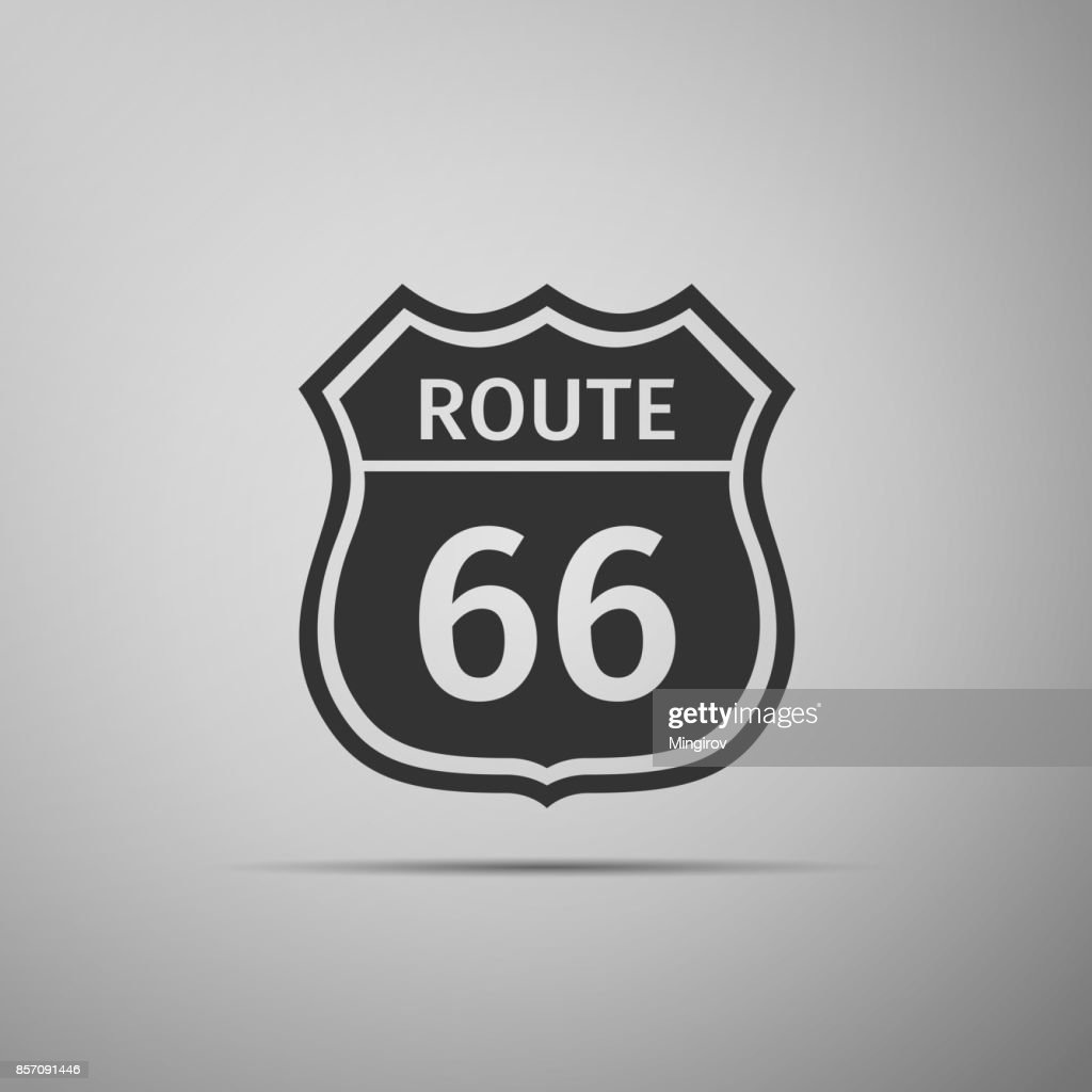 Route sixty six road sign. American road icon isolated on grey background. Flat design. Vector Illustration
