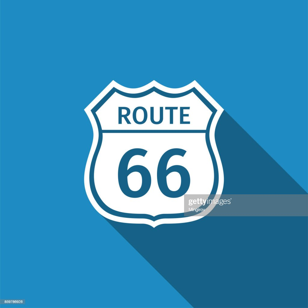 Route sixty six road sign. American road icon isolated with long shadow. Flat design. Vector Illustration