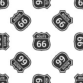 Route sixty six road sign. American road icon seamless pattern on white background. Flat design. Vector Illustration
