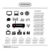 router and technology icon set