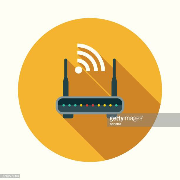 illustrazioni stock, clip art, cartoni animati e icone di tendenza di router flat design communications icon with side shadow - wireless technology