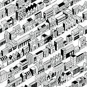 Row City Seamless Pattern Isometric