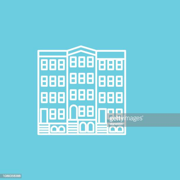 Row House Thin Line Real Estate Icon Set