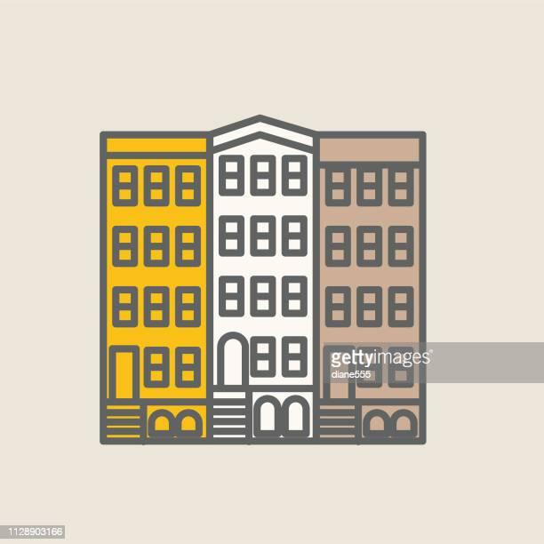 長屋の細い線の不動産アイコン セット - タウンハウス点のイラスト素材/クリップアート素材/マンガ素材/アイコン素材