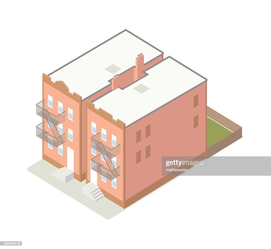 Row houses isometric illustration : stock illustration