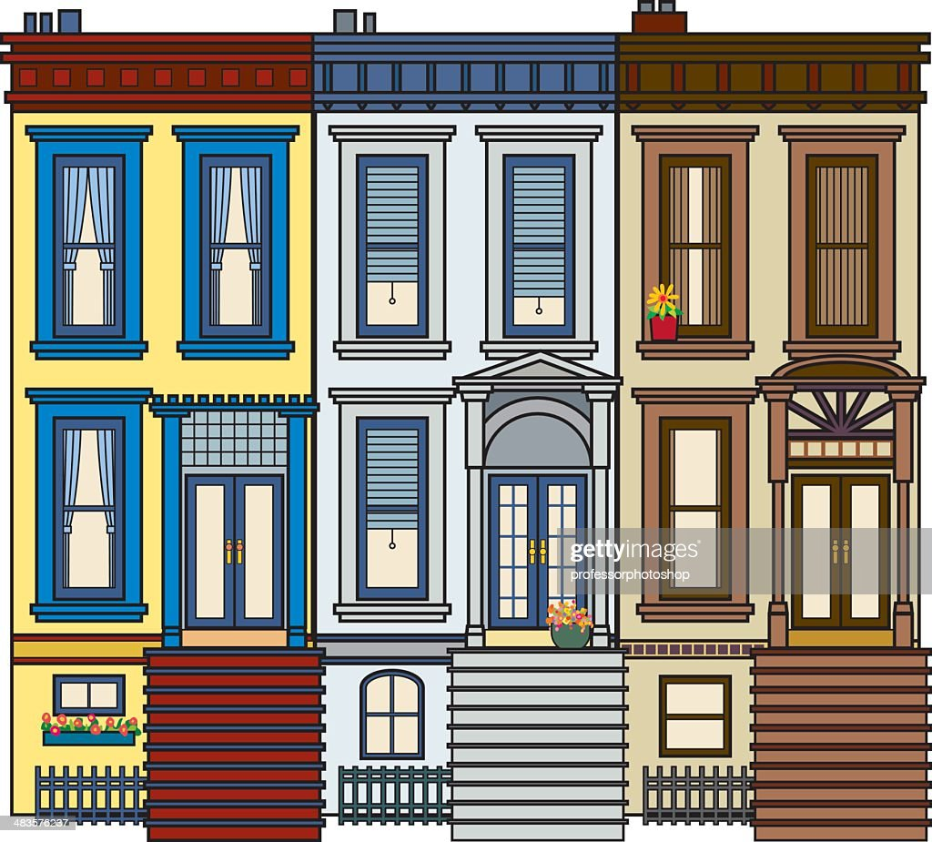 Row of Brownstone : stock illustration