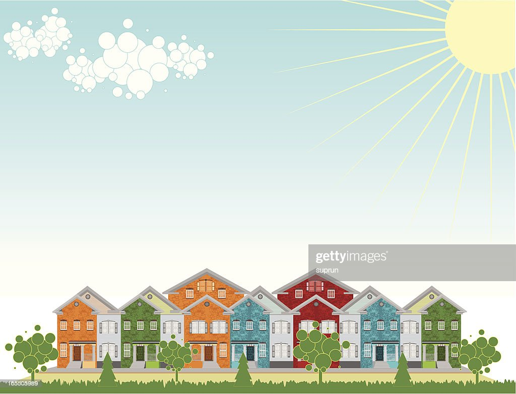 Row of Colorful Townhouses. Outdoow Setting : stock illustration