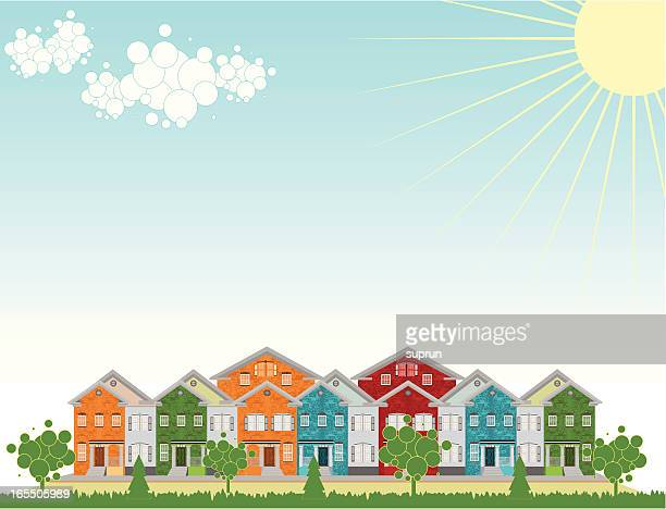 Row of Colorful Townhouses. Outdoow Setting