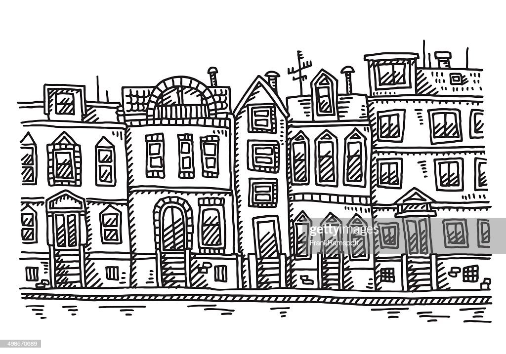 Awe Inspiring Row Of Houses Drawing High Res Vector Graphic Getty Images Download Free Architecture Designs Scobabritishbridgeorg