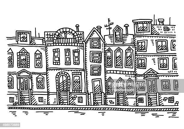 Row Of Houses Drawing