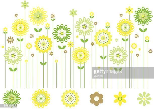 ilustraciones, imágenes clip art, dibujos animados e iconos de stock de fila de flores de primavera en colores frescos. - girasol