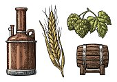 Row of tanks, hop branch with leaf, ear of barley and wooden barrel.
