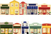 Row of ten small boutique shops