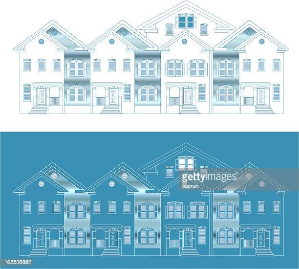 Row of Townhouses. Blueprint Version